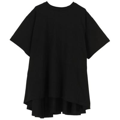 ミエット miette バックフレアコットンTシャツ (ブラック)
