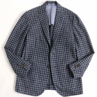 美品▽スティレ ラティーノ チェック柄 シルク混 ツイードジャケット/シングルジャケット ブルー系 50 イタリア製 メンズ