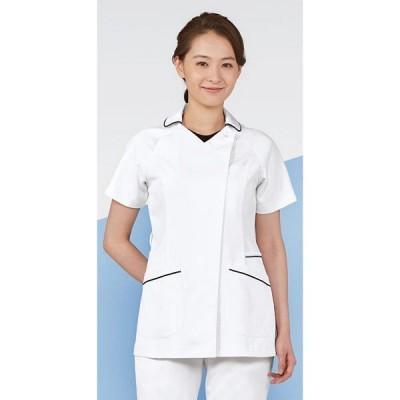KAZEN レディススクラブ 医療白衣 半袖 ホワイトxネイビー M 074-28(直送品)