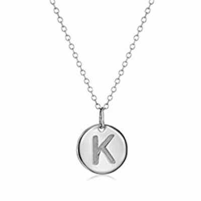 925 Sterling Silver Round Disc Initial Pendant Necklace (K)