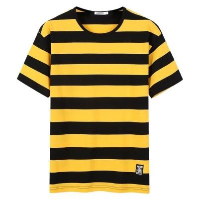 カットソー トップス 丸首 サマー 切り替えカラー 綿シャツ ボーダー柄 夏 半袖 Tシャツ メンズ スクール風 通学 おしゃれ