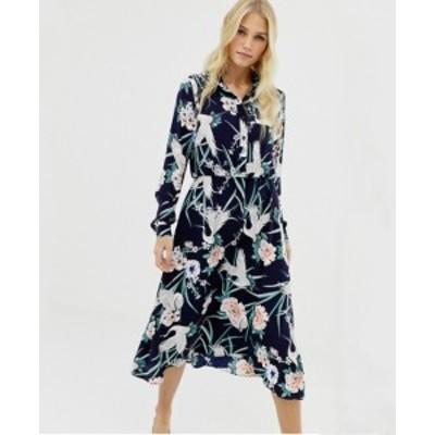エイソス ASOS レギュラーフィット 長袖 フローラ ルミディシャツ ワンピース ドレス 送料無料 レディース ファッション