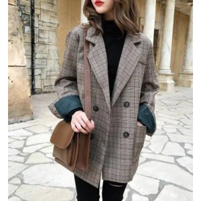 韓国 ファッション レディース テーラードジャケット チェック スプリングコート アウター オルチャン 長袖 ゆったり レトロ 大人可愛い