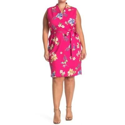アレクシアアドマー レディース ワンピース トップス Savannah Wrap Sheath Dress (Plus Size) PINK FLORAL