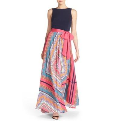 エリザジェイ ワンピース トップス レディース Scarf Print Jersey & Cr麪e de Chine Maxi Dress Pink