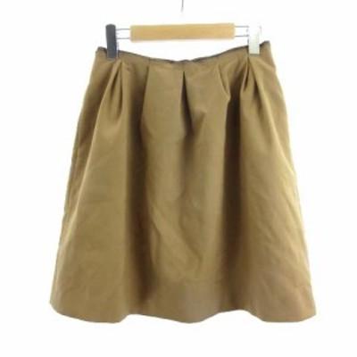 【中古】ボールジー BALLSEY トゥモローランド ギャザースカート フレア ひざ丈 キャメル ベージュ 38 M RRR レディース