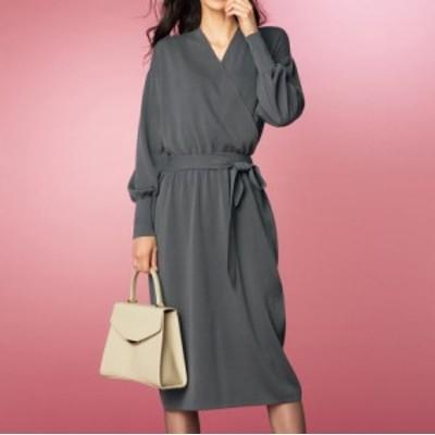 セールアイテム ファッション ワンピース チュニック ニットワンピース カシュクール風 ニットワンピース PC9113