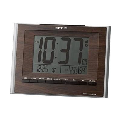 リズム時計 目覚まし時計 電波 アナログ フィットウェーブD172 置き ・ 掛け 兼用 温度 ・ 湿度 カレンダー 付 茶 (ブラウン)