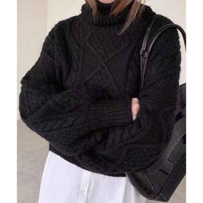 ニット レディース ローゲージ風ぽわん袖タートルネックニットセーター