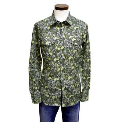プリントシャツ メンズ ボタニカル Lost in Albion フラワープリントシャツ グリーン イタリア製 ブリックスモノ