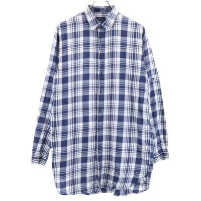 ザラマン SLIM FIT チェック柄 長袖 シャツ M 紺×白 ZARA MAN ロング ロールアップ袖 メンズ 古着 201014 メール便可