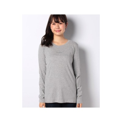 BENETTON (women) ロゴクルーネック長袖Tシャツ・カットソー(グレー)【返品不可商品】