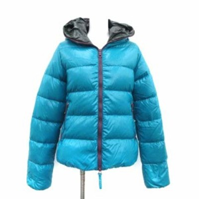 【中古】デュベティカ 40 L ティア THIA ダウンジャケット アウター ジップアップ 青緑 ブルー グリーン レディース