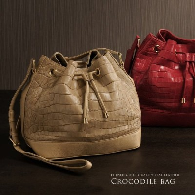 クロコダイルバッグ crocodile クロコダイル 巾着 バッグ / マット加工 ショルダー レディース 保証書 付き 『ギフト』