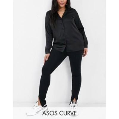 エイソス レディース カジュアルパンツ ボトムス ASOS DESIGN Curve skinny pant with split hem in black Black