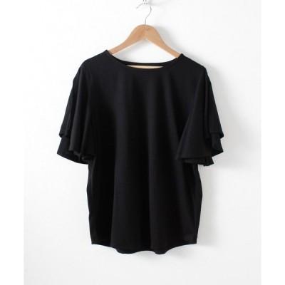 tシャツ Tシャツ フリル袖オープンショルダーカットソー
