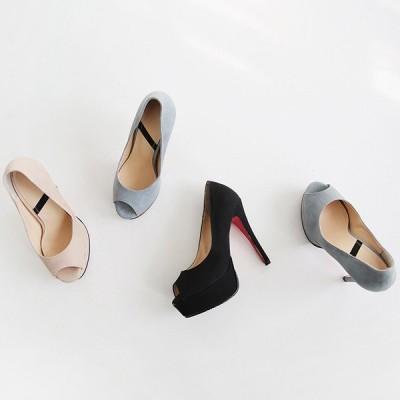 パンプス エナメル オープントゥ エナメル 黒 ブラック ベージュ レディースシューズ ハイヒール 婦人靴 痛くない レッドソール