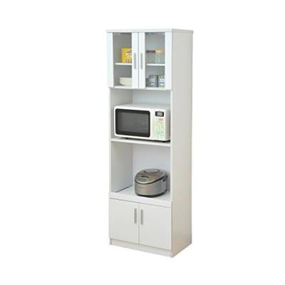 山善 キッチンラック ホワイト 幅59×奥行40×高さ180cm 2口コンセント付き スライド棚仕様 SSY-1860ER(WH)