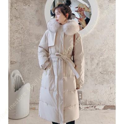 ダウンコート レディース ダウンジャケット 中綿コート 冬 アウター ファー フード ロング コート 着痩せ 無地 厚手 冬服 防寒着 おしゃれ あったか 女性用