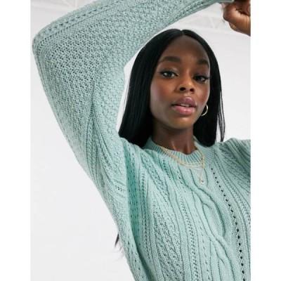 ミスセルフフリッジ レディース ニット&セーター アウター Miss Selfridge cable sweater in sage Sage