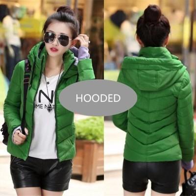 2019 新レディースファッションコート冬のジャケットの女性は上着ショートキルトジャケット女性 Hooded--Green XXL