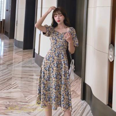 夏新作 ワンピース スクエアネック レディース 着痩せ 小花柄 半袖 きれいめ 女性着 夏コーデ 気質 日常感 大きいサイズ S M L XL アウト