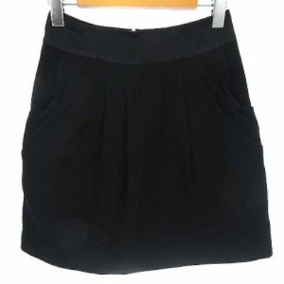 【中古】アンタイトル UNTITLED スカート タイト ウール リボンポケット 膝上丈 ブラック 黒 0 レディース
