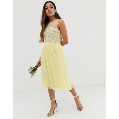 マヤ Maya Petite レディース ワンピース ワンピース・ドレス Bridesmaid mesh top delicate sequin midi dress in lemon Lemon