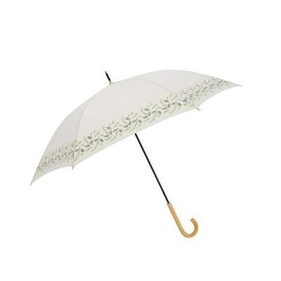 小川(Ogawa) 長傘 雨晴兼用雨傘 手開き 58cm 6本骨 tenoe/Natural ミモザのブーケ UV加工 鳥型飾りボタン付き 92000