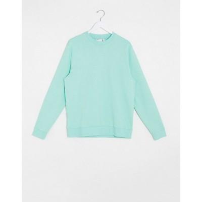 エイソス メンズ パーカー・スウェットシャツ アウター ASOS DESIGN organic sweatshirt in pastel green Ocean wave