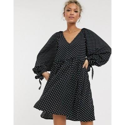 エイソス レディース ワンピース トップス ASOS DESIGN smock mini dress with pleat shoulder detail in mono polka dot