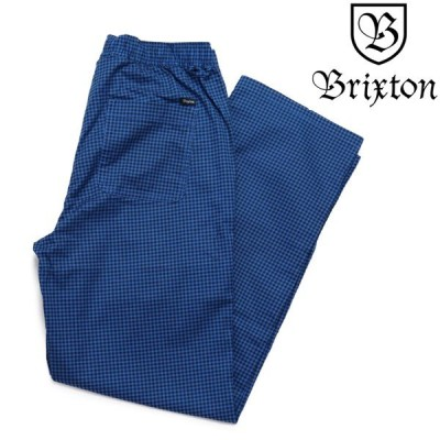 BRIXTON  STEADY DRAWCORD PANT LOOSE FIT ROYAL BLUE GINGHAM ロングパンツ  ブリクストン