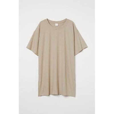 H&M - リブジャージーTシャツ - ブラウン