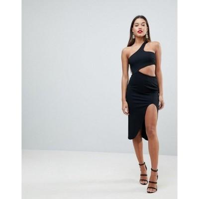エイソス レディース ワンピース トップス ASOS One Shoulder Asymmetric Side Cut Out Midi Dress Black