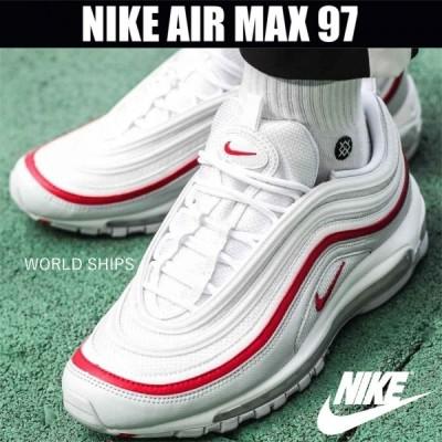 エア マックス 97 ナイキ スニーカー メンズ レディース Nike Air Max 97 OG PURE PLATINUM WHITE-UNIVERSITY RED