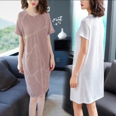 チュニック 無地 ワンピース 春夏 女性 服 きれいめ ワンピ ピンク 体型カバー レディースファッション 膝丈 黒 50代 40代ファッション