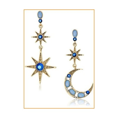 Betsey Johnson Mystic Baroque Queens Blue and Gold Moon and Star Drop Earrings【並行輸入品】