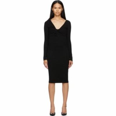 アレキサンダー マックイーン Alexander McQueen レディース ワンピース Vネック ワンピース・ドレス Black Wool Twisted V-Neck Dress B