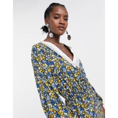 エイソス レディース ワンピース トップス ASOS DESIGN vintage collar tea jumpsuit in blue ditsy floral print Blue daisy