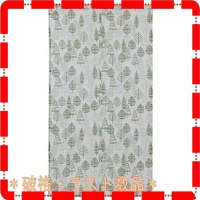 Sunny day fabric のれん ノルディック リーフ&木立 幅85cm x 丈150cm 北欧デザイン コットン100%