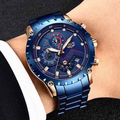 lige新 メンズ 腕時計 ブルー 高級 ステンレス鋼 腕時計 ミリタリー クォーツ メンズ 腕時計 レロジオmasculino