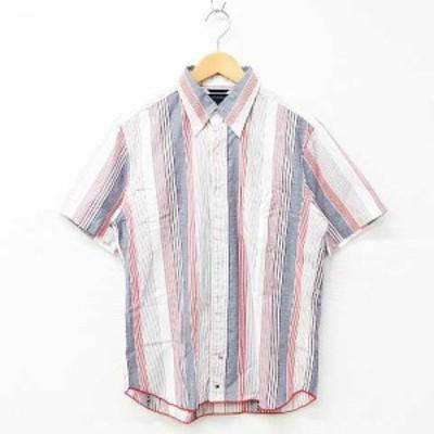 【中古】TOMMY HILFIGER カジュアルシャツ トップス 半袖 マルチストライプ柄 刺繍 ボタンダウン 綿 白 赤 ネイビー S