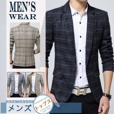 スーツ チェック柄 上着 メンズ アウター 春 新作 長袖 通勤 ビジネス カジュアルGNZ01-99