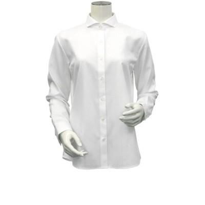 レディース ウィメンズシャツ 長袖 形態安定 ホリゾンタル ワイド衿 綿100% 白×織柄