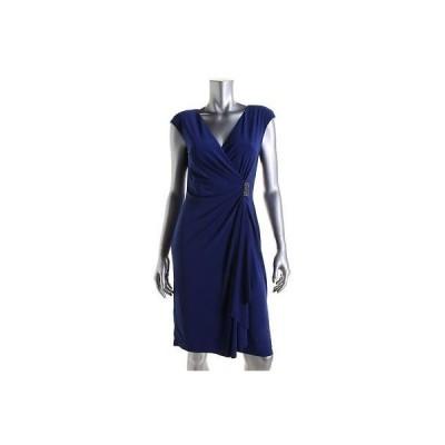 ドレス 女性  アメリカンリビング American Living 5129 レディース ブルー Faux-ラップ Embellished Cocktail ドレス 12