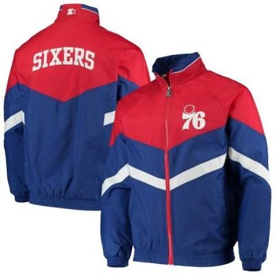ユニセックス スポーツリーグ バスケットボール Philadelphia 76ers Starter Bank Shot Oxford Full-Zip Jacket - Royal/Red