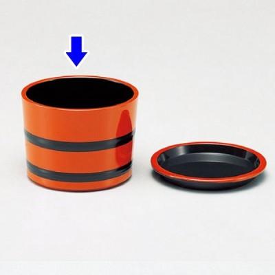 (業務用・そば千代口)(小)桶型つゆ入れ朱帯黒(入数:5)