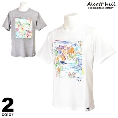 ALCOTT HILL アルコットヒル 半袖カットソー メンズ 2021春夏 Tシャツ クルーネック ロゴ 13-2504-10
