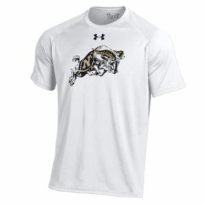 Under Armour アンダー アーマー スポーツ用品  Under Armour Navy Midshipmen White School Logo Performance T-Shirt