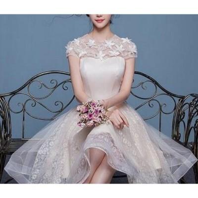 ドレス レース 刺繍 ひざ丈 花びら エレガント 結婚式 パーティー お呼ばれ